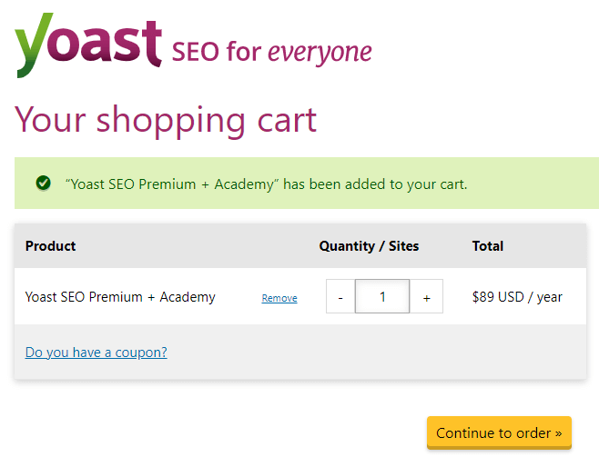 Yoast SEO Pricing
