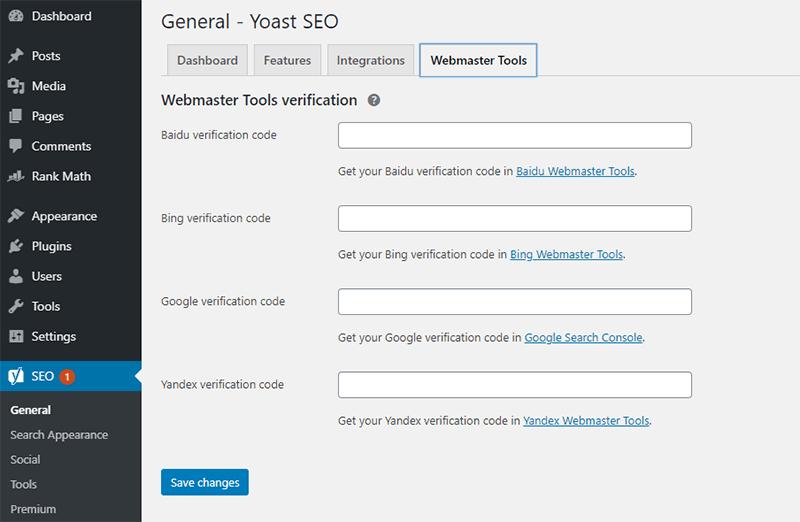 Yoast Webmaster Verification