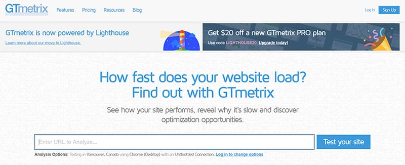 GTmetrix Tool Home Page