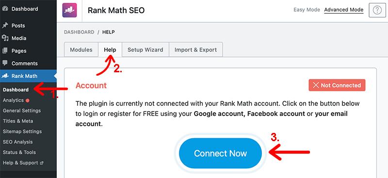 Creating Rank Math Account