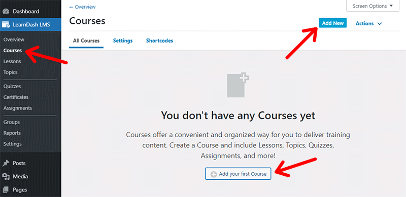 LearnDash Add Course from Menu