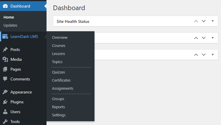 LearnDash Menu in WordPress Admin Area